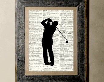 Golfer(Version 3) - Printed on a Vintage Dictionary, 8X10, dictionary art, paper art, illustration art, collage