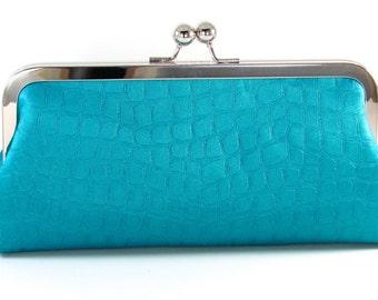 Blue Clutch Purse - Evening Bag - Turquoise Silk  Women's Handmade Handbag - Animal Print Metal Frame Purse - Bagboy