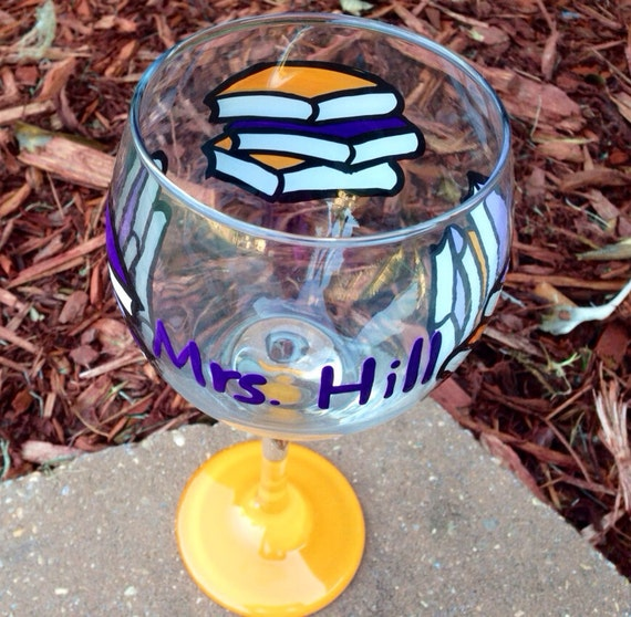 Library Books Painted Wine Glass