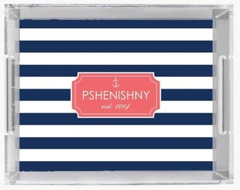 """Personalized Lucite Tray - 11x17""""- Nautical Lucite Tray with Personalization- New Couple Gift"""