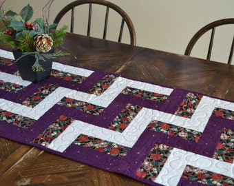 Royal Purple Christmas Table Runner, Quilted Table Runner