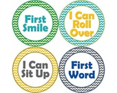 Baby's First Milestone Stickers, I Can Crawl, I Can Walk, First Tooth, First Word, First Smile, and More, Boys Monthly Stickers (B023-M)