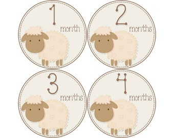 Baby Announcement, Monthly Baby Stickers, Monthly Baby Photos, Baby Gift, Baby Month Stickers, Monthly Stickers, Lambs (N023)