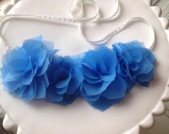 Blue chiffon flower halo