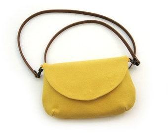 Yellow Cotton and Linen Purse · Handmade Crossbody purse · Small handbag · Leather Strap