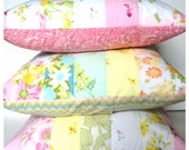 SALE - Quilted Vintage Linen Pillow Cover - Pink and Yellow Floral - 18 inches - Ready to Ship