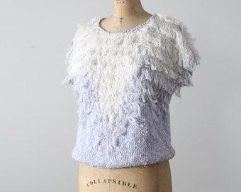 FREE SHIP  1980s yarn sweater, short sleeve fringe knit top
