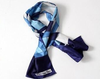 Christian Dior scarf, vintage faux silk scarf tie