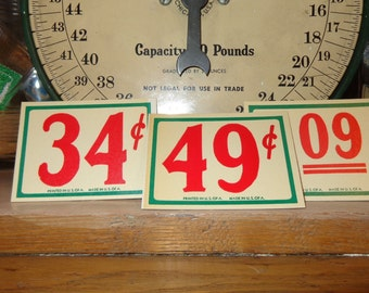 A PLETHORA of Ideas 1 Vintage 1930s-40 NOS LARGE Store Red Green Price Tags for Christmas General Store Vignette Fun Gift Tags Table Numbers