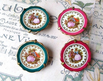 Set of four  vintage  French mini porcelain plate with stand