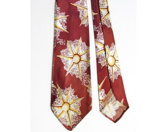 "1940's Art Deco ""STARFISH"" wide tie by Hollyvogue, made in California, and sold at The Broadway, in L.A., Pasadena, and Hollywood"