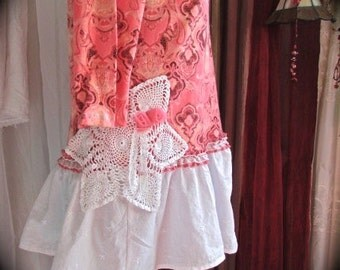 Pink Coral Top, romantic shabby tattered chic, eco friendly ruffle fabric hemline, altered clothing, refashion clothing, LARGE