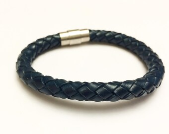 Large Navy braided leather cord with silver magnetic buckle bracelet