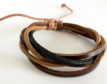 Light Brown hemp cord interlaced with Black and Brown leather bracelet