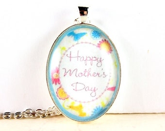 Mother's Day Necklace, Oval Glass Tile Pendant, Gift for Mom