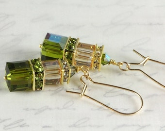 Swarovski Crystal Cube Earrings, Gold Filled, Golden Shadow, Olivine and Gold