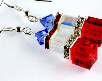 Crystal Cube Earrings, Dangle Earrings, Swarovski, Sterling Silver, Fourth of July, Red - White - and Blue, Stacked Cubes