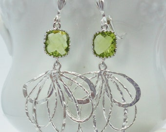 Earrings Peridot Jewels and Silver Fantails old hollywood weddings bridal elegant antiqued vintage style