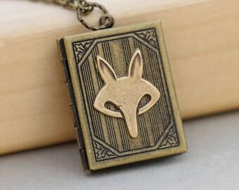 Locket,jewelry gift,Necklace,Fox Locket,Antique Style  Locket,Brass Locket,Woodland,Fox Necklace