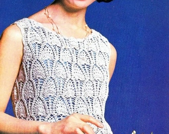 Vintage Crochet for  Girls and Woman sumer Top from 70 years, tunic.Pattern INSTRUCTION only, PDF Files