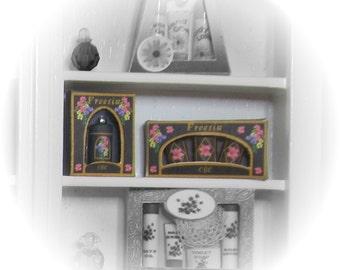 Dollhouse miniature toiletries, freesia, soaps and talc gift boxed. *SALE*