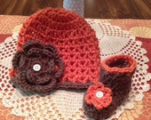 Baby Girl Flower Hat and Boot Set