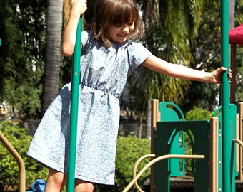 Periwinkle Girls Dress Girls Vintage Dress Style Daydress Girls Sun Dress Liberty of London Look Sizes 3T - 8Y Available