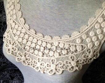 Cotton Applique - 1 pcs Light Beige Applique for Altered Couture, Costume Design(A37)