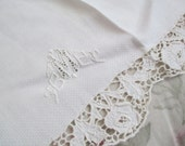 Vintage Embroidered White Floral Rose Point De Venise Cutwork Lace Hand Guest Towel MBE EBM Monogram  C102