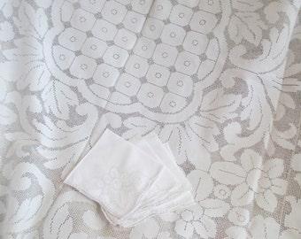 BEAUTIFUL Antique Vintage Italian Tablecloth 4pc Napkin Set  White Linen With Floral Fleur De Lys  SICILIAN Drawn Thread Work NeedleLace R20