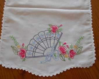 "Table runner NEW Hand embroidery OOAK Dresser scarf blue Fan and pink Flowers  42"" X 14 3/4"" hand crochet edging"