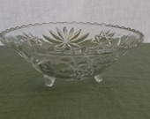 Vintage Bowl Pressed Glass Footed Serving Bowl