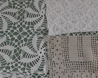 Vintage Doilies Rectangle Lace Doilies in White Off White and Beige 3 Pieces