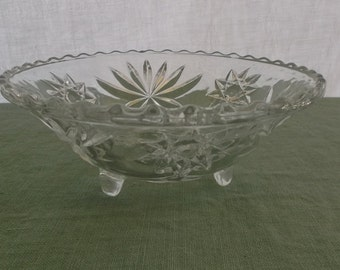 Vintage Bowl Pressed Glass Footed Serving Bowl