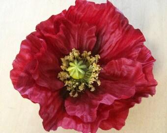 Full Romantic Red Poppy Silk Flower Brooch Pin