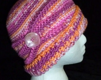 Crocheted Women's  Flapper Hat Cloche with Side Pinched Pleats