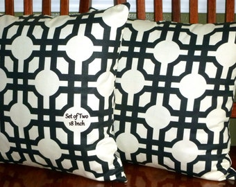 Decorative Pillows,  Accent Pillows,Throw Pillows, Pillow Covers - Set of Two 18inch Black and White