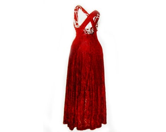 Long Burgandy Lace Dress   size med