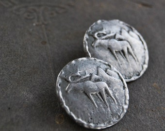 Vintage Metal Picture Button - Silver Moose Shank Style - Lot 310
