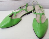summer flats SANDALS womens COLORFUL green slingbacks leather size 7