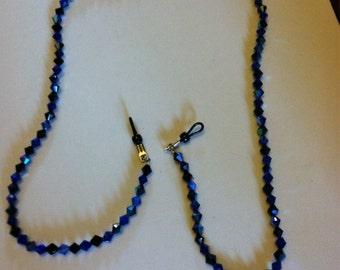 "Handmade 30 1/2"" eyeglass chain (necklace) in light blue to cobalt blue beads"