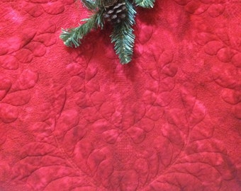 Made to Order Tree Skirt Quilted Red Feathered Wholecloth Quiltsy Handmade