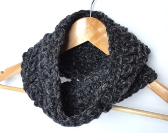 Chunky Crochet Cowl/Neck Warmer - Charcoal Gray