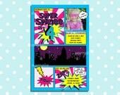 Superhero Party Invitation Photo Birthday Invite hot pink purple yellow blue Comic Book Super Hero
