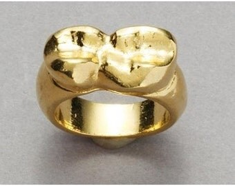 Gold Molar Teeth Ring