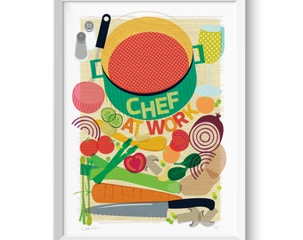 Chef Kitchen Print Food Illustration Wall Art