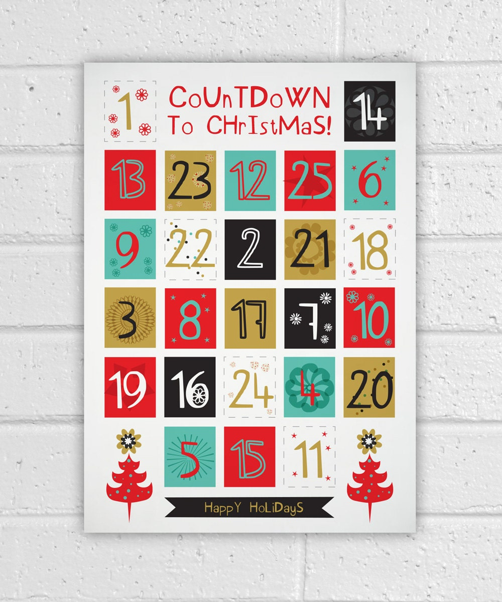 Printable advent calendar holiday diy christmas countdown for Diy christmas advent calendar ideas