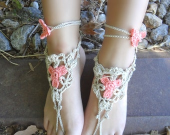 Crocheted Flower Barefoot Sandals PDF patten - a photo tutorial, ankle bracelet,boho sandals,beach sandals,barefoot sandals,