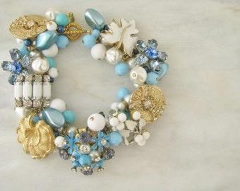 Charm Something Blue Charm Turquoise Floral Flower Bracelet OOAK