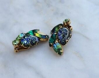 50s 60s Blue Green Rhinestone Earrings 1950s Clip